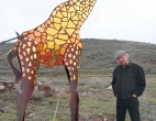 Giraffe with artist Dale Montagne