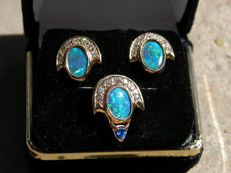 Black Opal Earrings and Pendant